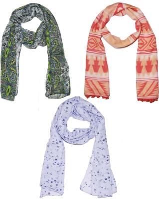 Weavers Villa Printed Set of 3 Scarves, Stoles, Dupattas Premium Soft Summer Vibrant Coloured Trendy Women's Scarf