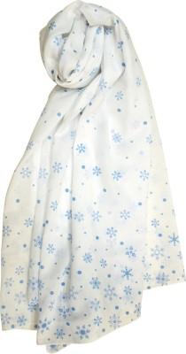 Pale Blue Dot Printed Cotton Women's Scarf