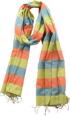 Dushaalaa Striped Silk/Coton Womens Scarf