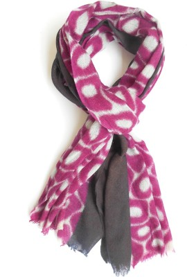 Wool Scarf Graphic Print 100% Pure Wool Women's Scarf