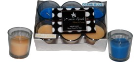 Numen Spark Vanilla Caramel - Ocean Blue Dual Scent Votive Candle (pack of 6)