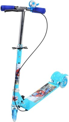Flying Toyszer 3 Wheel Metal Folding With LED Lights, Hand Brake And Bell Manual Scooter(Blue)