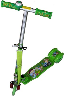 Alive Alive Three Wheel Metal Folding Skate With Led Lights And Bell Green Manual Scooter