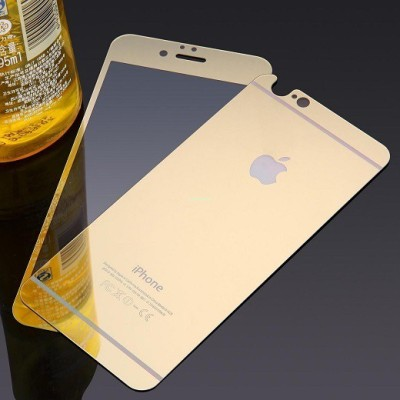 Comate Front & Back Protector for Electroplated Mirror Front + Back Tempered Glass Screen Protector for Apple Iphone 5 5S - GOLD