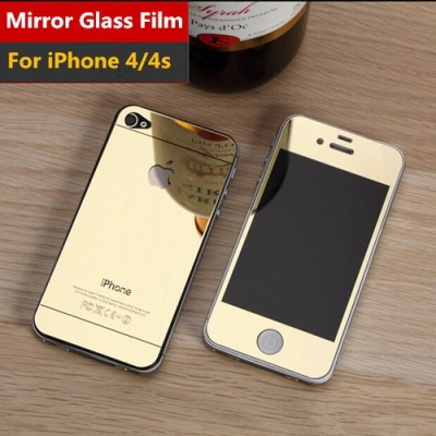 FireForces FF-3089 Front And Back Gold Tempered Glass for iPhone 4/4S