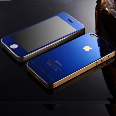Pinnacle MIRRORED BLUE FRONT BACK Tempered Glass for APPLE IPHONE 5/5S