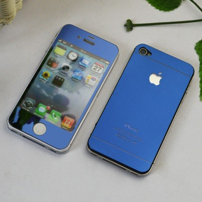 FireForces FF-3091 Front And Back Blue Tempered Glass for iPhone 4/4S