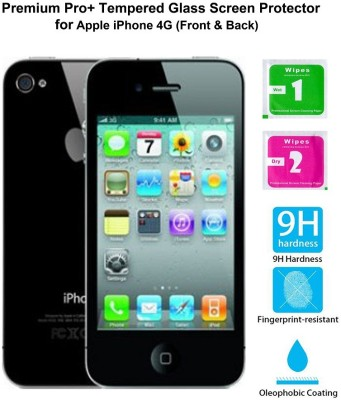 Casreen 100093 Premium Pro+ Tempered Glass (Front & Back) Tempered Glass for Apple iPhone 4