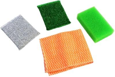 HOKIPO 4 Pieces Cleaning Set- 2 Sponge + 1 Wipe + Scrub Pad
