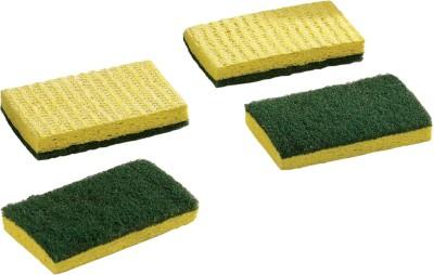 Zibo Cellulose Sponge Scourers Scrub Sponge(Green, Yellow Pack of 4)