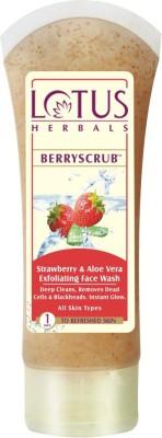 Lotus Berry Scrub Strawberry & Aloe Vera Exfoliating Face Wash(80 g)