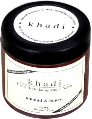 Khadi Natural Herbal Exfoliating Facial Scrub - Almond & Honey (With Pure AloeVera Gel) Scrub(100 g)
