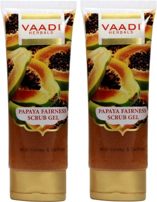 Vaadi Herbals Value Pack of 2 Papaya Fairness Scrub Gel with Honey & Saffron Scrub(240 g)
