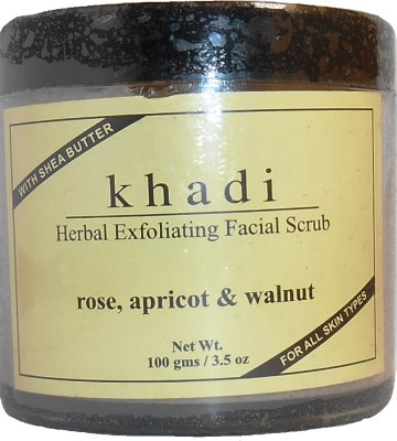 khadi Natural Herbal Exfoliating Rose, Apricot & Walnut Facial  Scrub