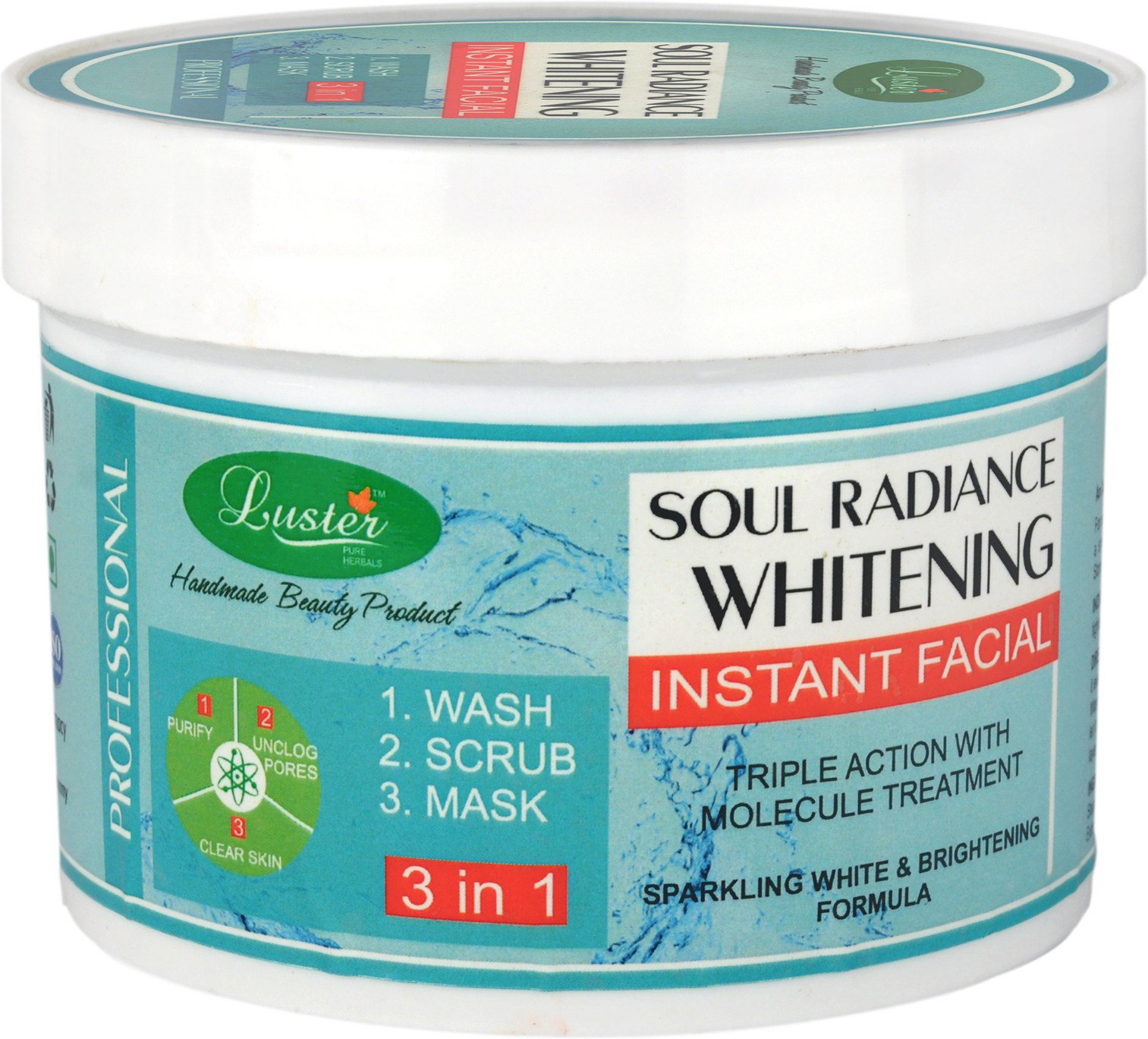 Luster Soul Radiance Whitening Instant Facial - Wash Scrub Mask Scrub(400 g)
