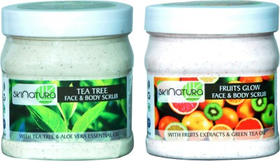Skinatura tea tree &fruits glow face & body cream scrub(pack of two) Scrub(500 ml)