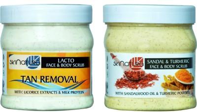 Skinatura lacto tan removal & sandal turmeric face & body cream scrub (pack of two) Scrub(500 ml)