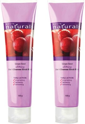 Avon Grape Seed Whitening 3 In 1 Cleanser Scrub & Mask - Set of 2 (100 g each) Scrub