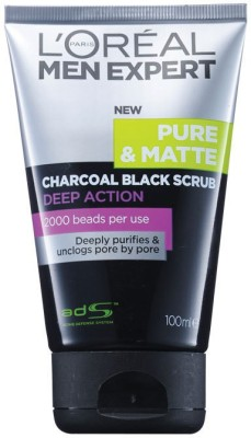 L,Oreal Paris Men Expert Pure & Matte Charcoal Black  Scrub