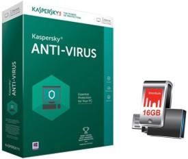 Kaspersky Anti-virus 2016 1 PC 1 Year with Strontium Nitro Plus OTG 16GB Pen Drive 3.0