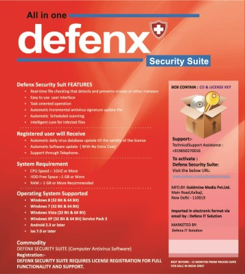 DefenxIT Security Suite with Mobile Security 1 User 1 Year