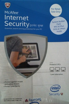 Mcafee Intel Internet Security+ 3user 1 year version ( separate 3CD 3keys in one box)
