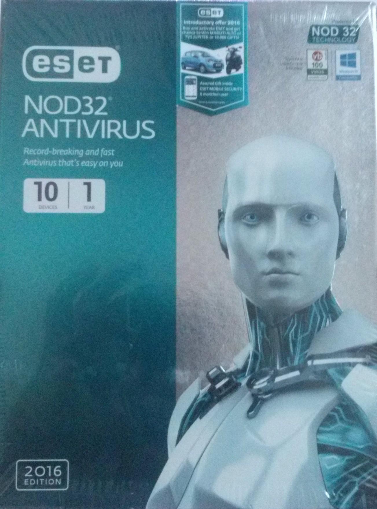 Eset Nod32 Antivirus 2016 Edition 10 PC 1 Year
