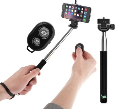 SHAMS IMPEX Selfie Stick with Bluetooth Remote Selfie Stick