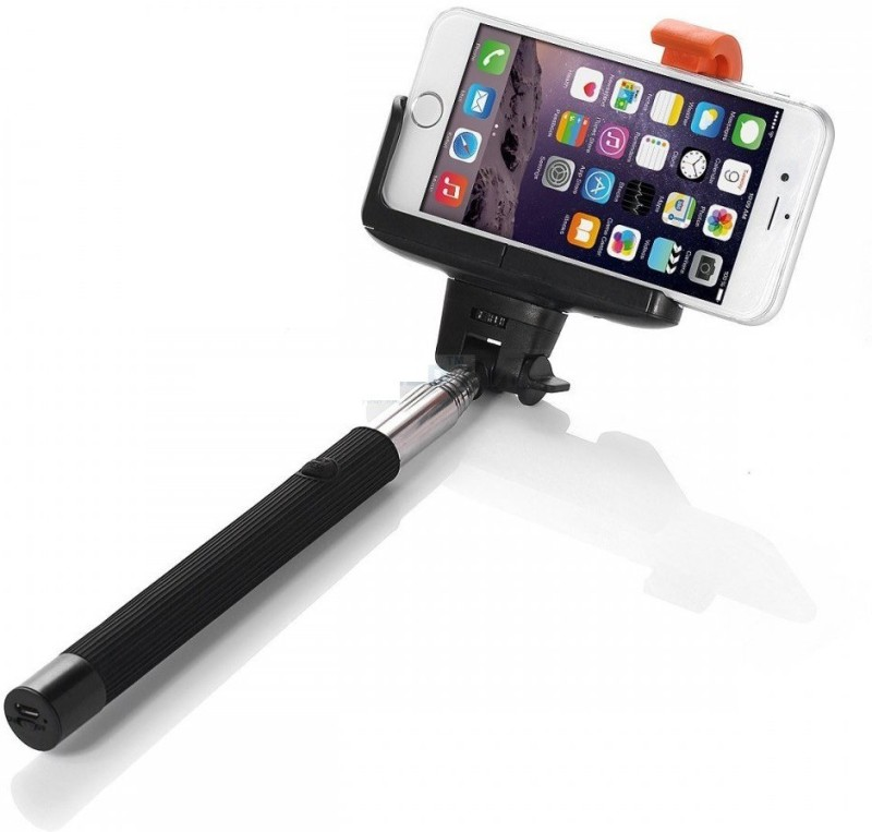 Icable Selfiestick With Inbuilt Bluetooth Remote Shutter Selfie Stick(Black)