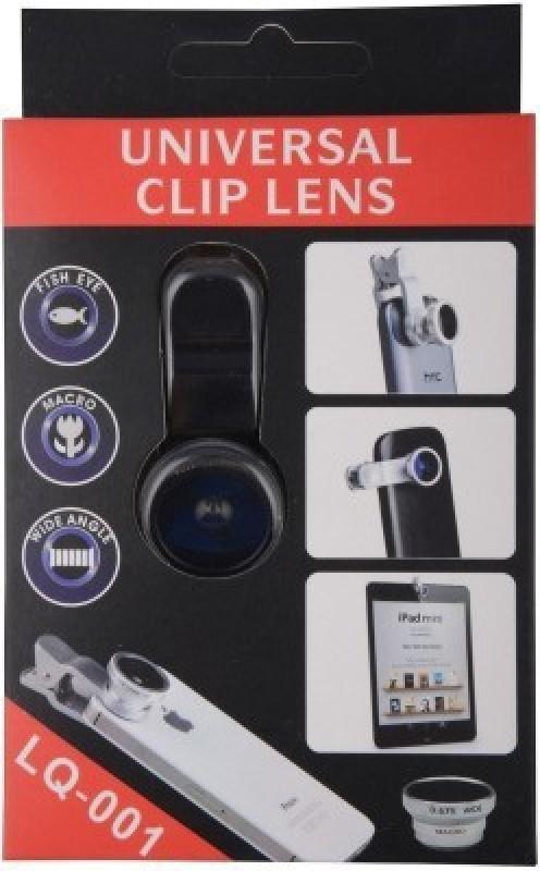 Rudra Traders Premium Quality Clip-on 2 In 1 Black Fisheye Macro Camera Lens For Universal Phones Selfie Stick(Black)