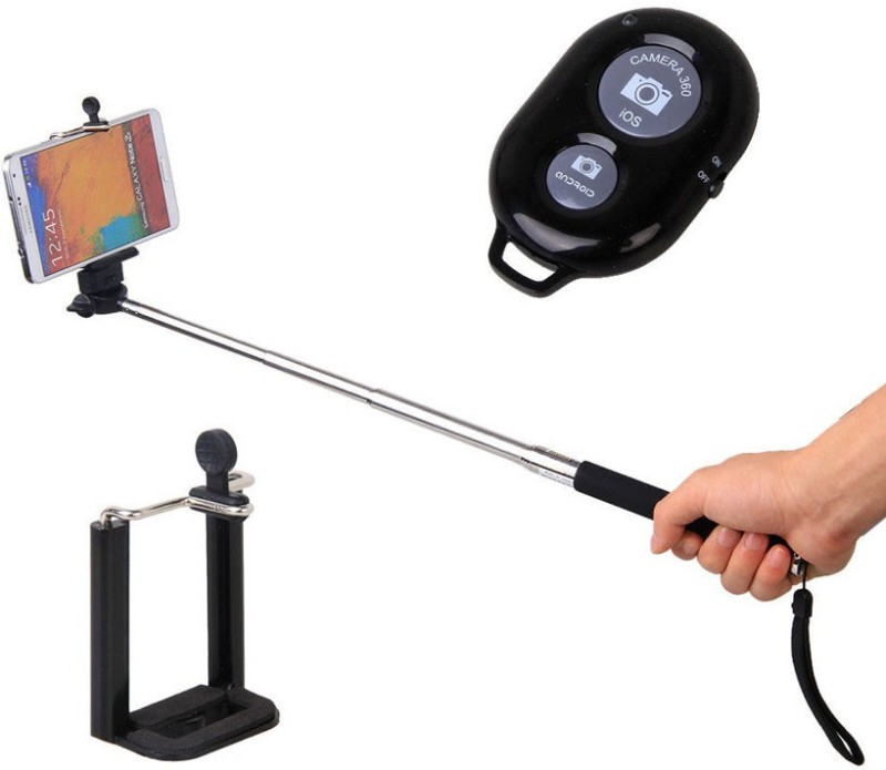 Rudra Traders Selfie Stick ACE with Bluetooth Remote for Smart Clicks Apple & Android Devices Selfie Stick(Black)