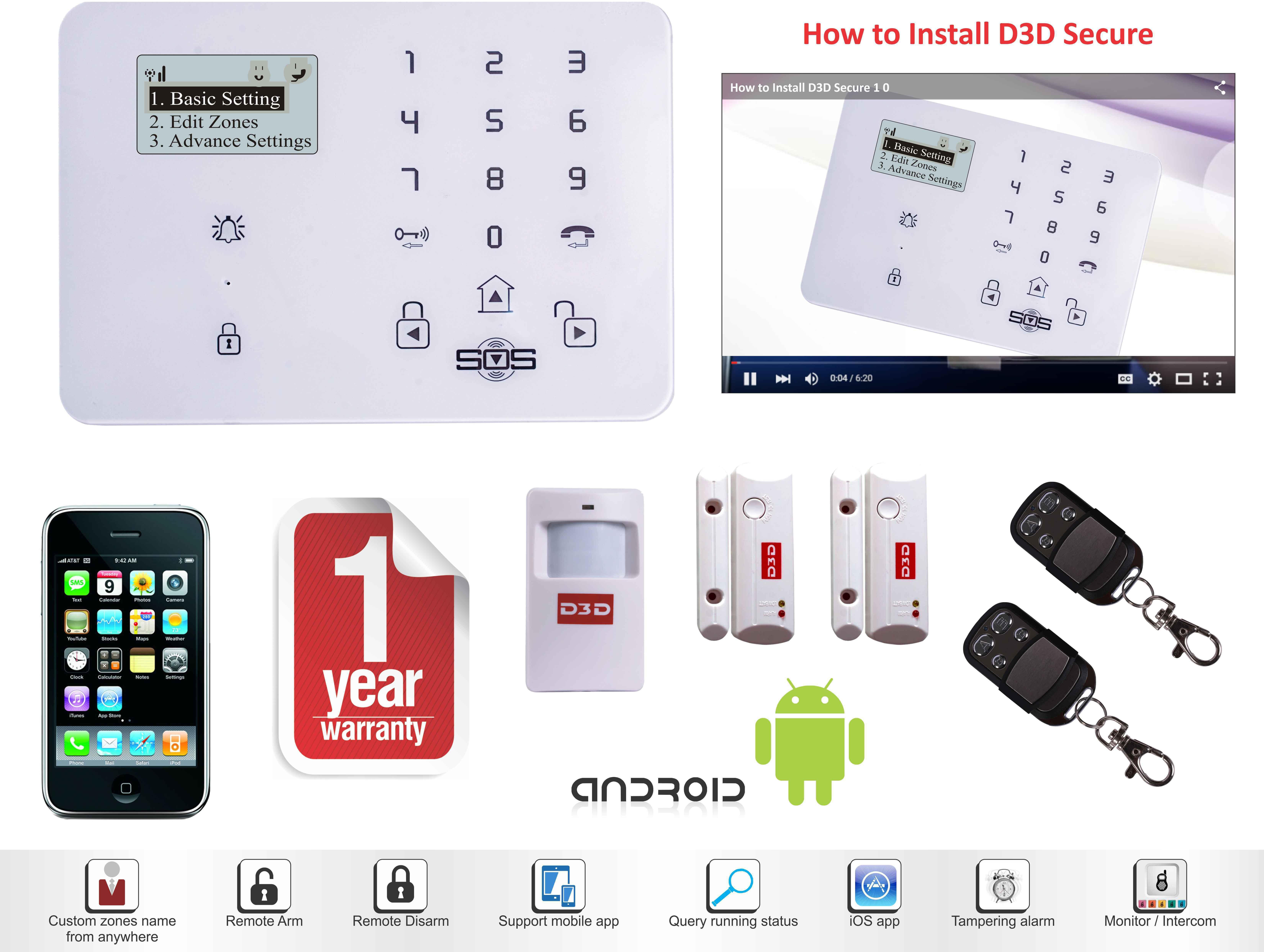 View D3D 2 Door Sensor + 2 PIR Sensor Wireless Sensor Security System Home Appliances Price Online(D3D)
