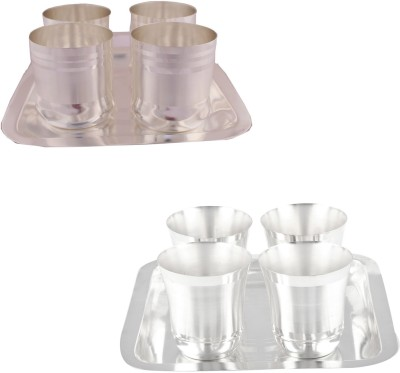 GS Museum 4 Premium Double Patta Glass Set with Rectangle Tray and 4 Flower Glass Set with Oval Tray Bowl Spoon Tray Serving Set