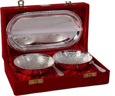 JTInternational German Silver Bowl Tray Serving Set(Pack of 5) at flipkart