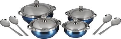 Jensons Smart Serves - Coloured Blue Bowl Spoon Serving Set(Pack of 8)