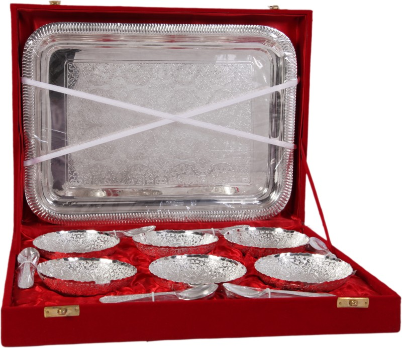 JTInternational German Silver Bowl Tray Serving Set(Pack of 13)