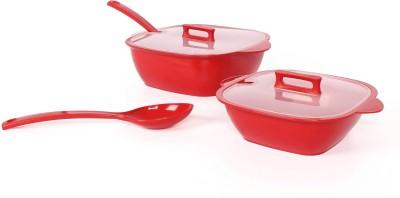 Gluman Microwave Safe Red Bowl Spoon Plate Ladle Serving Set
