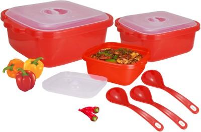 Nayasa Microwave Safe Serveware Red Bowl Spoon Serving Set