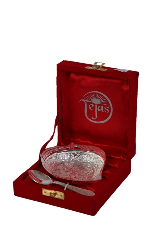 JTInternational German Silver Bowl Tray Serving Set(Pack of 2)