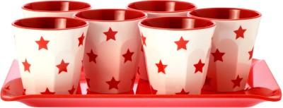 Superware Drink Serving Set-Star Red Glass Tray Serving Set