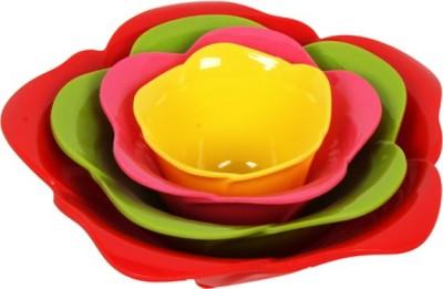 Purpledip Microwave safe Plastic Plate Bowl Serving Set(Pack of 4)