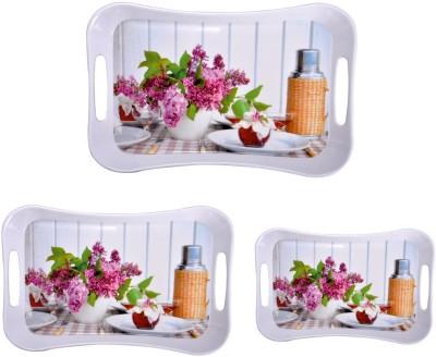 Mehul Sharewell Glazed Melamine T_9003 Pink Flower Roud 3 Pcs Cup Tray Serving Set
