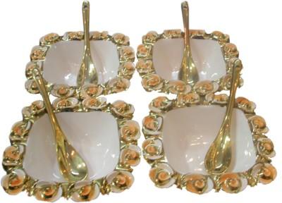 White Gold Serving Set Bowl Spoon Serving Set