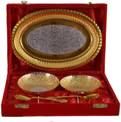 The Art Box Gold Plated Bowl Spoon Tray Serving Set