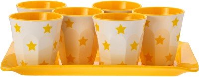 Superware Drink Serving Set-Star Yellow Glass Tray Serving Set