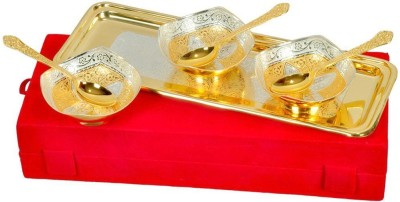 Indian Craft villa IndianCraftVilla Handmade Brass Gold And Silver Plated Bowls Set Of 7 Pieces Can be use as kitchenware and Holi,Diwali Anniversary Gift,Other Gift ideas Bowl Spoon Tray Serving Set