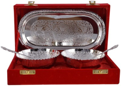 The Art Box Silver Plated Bowl Spoon Tray Serving Set