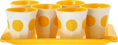 Superware Drink Serving Set-Dot Yellow Glass Tray Serving Set