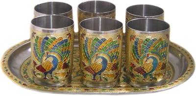 Rastogi Handicrafts St-Meena-6gl-T Glass Tray Serving Set
