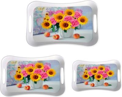 Mehul Sharewell Glazed Melamine T_9001 Rose Sunflower 3 Pcs Bowl Tray Serving Set